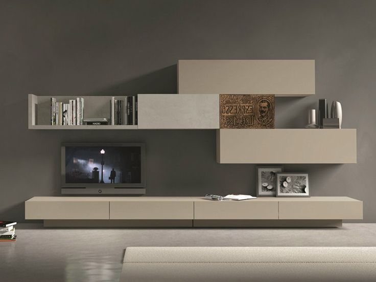 Parete attrezzata componibile fissata a muro con porta tv #280 - Presotto Industrie Mobili