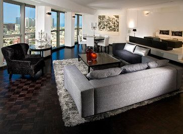 Grey Living Rooms With Dark Floors And Espresso Furniture Design Ideas, Pictures, Remodel, and Decor - page 2