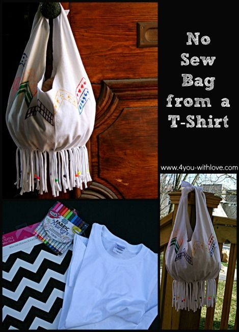 no sew bag from a t-shirt upcycle craft