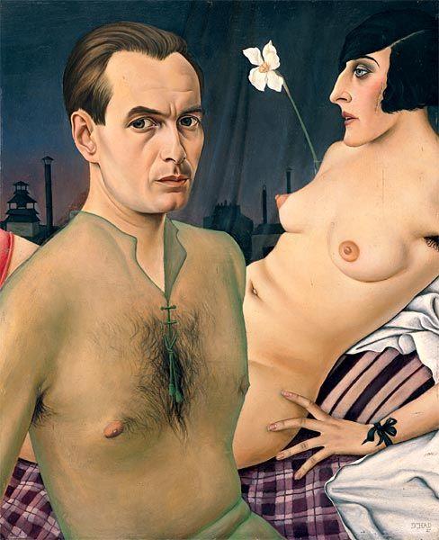 Christian Schad (1894-1982) - Selbstporträt im durchsichtigen grünen Hemd mit Modell, 1927. Öl auf Holz, 76 x 61,5 cm. Privatsammlung, courtesy Galerie Brockstedt, Hamburg; © VG Bild-Kunst, Bonn