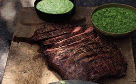 Beer-Marinated Flank Steak with Aji and Guacamole / Photo by Hans Gissinger