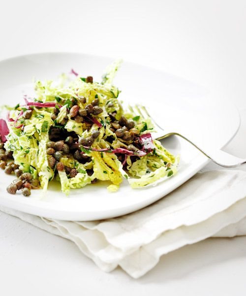 Savoy Cabbage Salad: savoy cabbage, radicchio, capers, parsley, wine vinegar and olive oil.