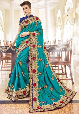 Blue Silk Designer Saree #latest #newlyadded #dress #Saree #sale #nikvik #usa #designer #australia #canada #sari