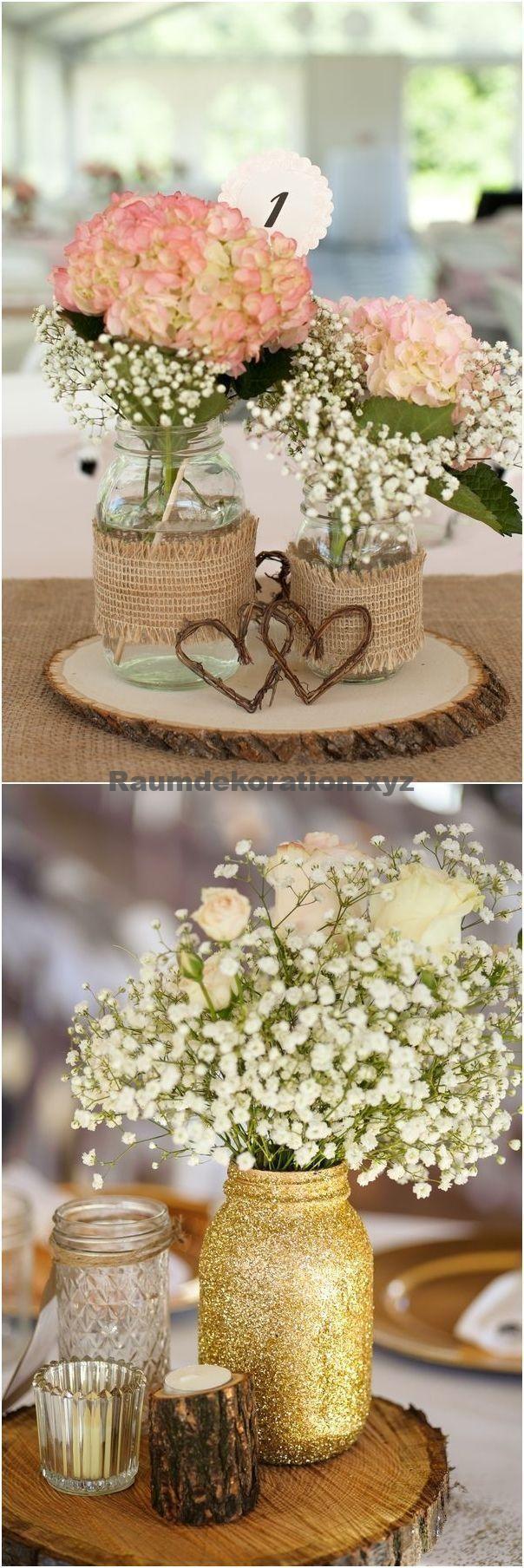 Tischdeko Hochzeit – unglaublich Rustikale Einmachglas Hochzeit Mittelstücke #Hochzeit #Hochz…