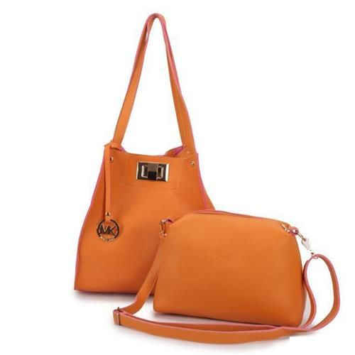 Michael Kors Turn Lock Logo Large Orange Shoulder Bags