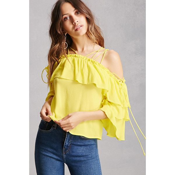 Forever21 Strappy Flounce Crop Top ($35) ❤ liked on Polyvore featuring tops, yellow, beige crop top, layered tops, flared sleeve crop top, strappy crop top and flounce tops