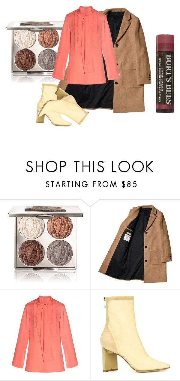 """Coral Beige Brown Burgundy"" by rhymingscapes on Polyvore featuring Chantecaille, Etro, Maison Margiela, Burt's Bees and breastcancerawareness"