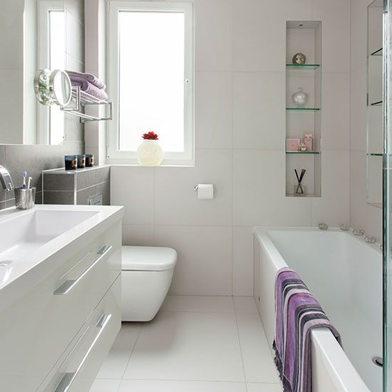Modern white bathroom with neutral tiles | Bathroom decorating | housetohome.co.uk | Mobile