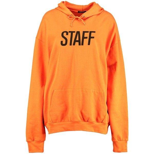 Boohoo Stephanie Staff Slogan Hoody | Boohoo ($30) ❤ liked on Polyvore featuring tops, hoodies, orange hoodies, cotton hoodies, orange hoodie, orange top and sweatshirt hoodies