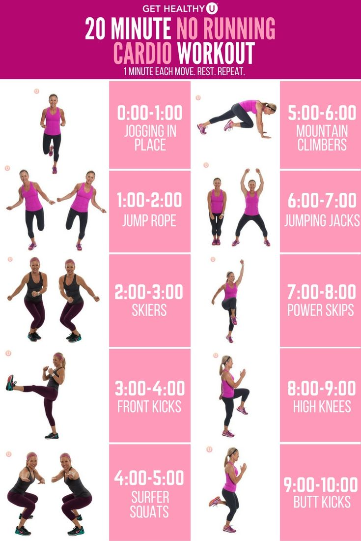 20-Minute No-Running Cardio Workout | GHU Cardio Workouts ...