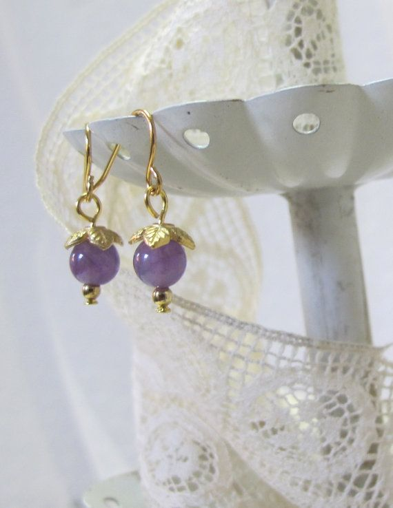Genuine Amethyst Drop Earrings, Gold-Plated Earwires, Civil War Appropriate