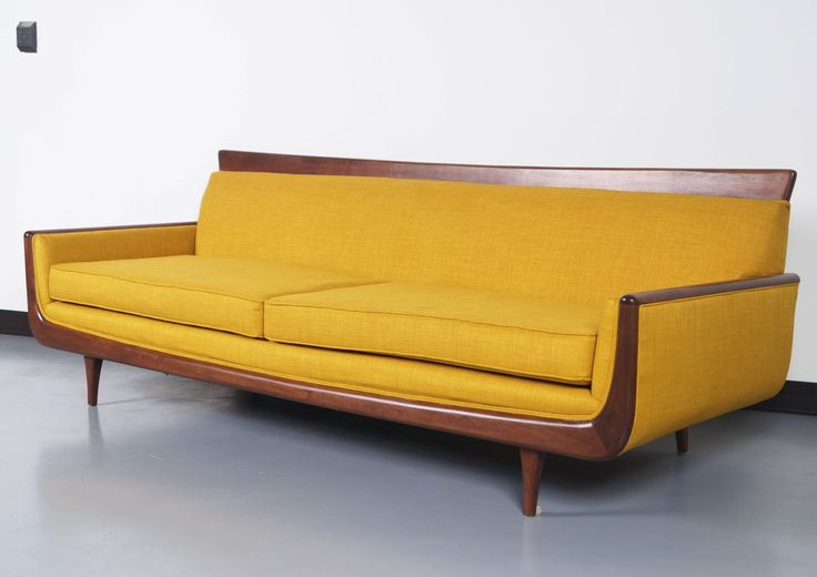 Mid-Century Modern Walnut Sofa | From a unique collection of antique and modern sofas at https://www.1stdibs.com/furniture/seating/sofas/