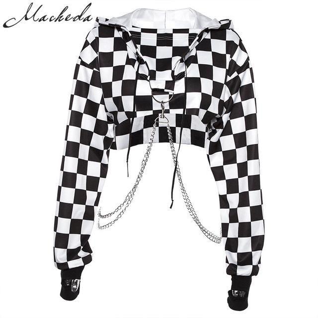 Macheda Women Hoodies Casual Sweatshirt Black White Lattice Autumn Women's Cropped Top Individuality Chain Ornament Fashion Tops