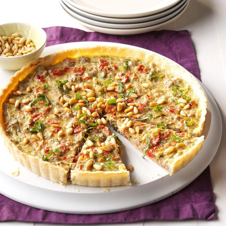 Asiago Beef Tart Recipe -I love simple recipes that are fancy enough for guests. To get a velvety texture in this tart, I use creme fraiche, but sour cream works, too. —Veronica Callaghan, Glastonbury, Connecticut