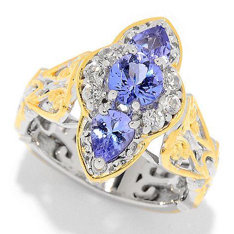 161-003 - Gems en Vogue 1.34ctw Tanzanite & White Zircon North-South Ring
