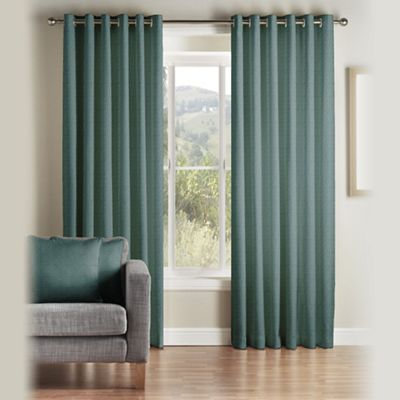 Montgomery Teal U0027Addou0027 Fully Lined Eyelet Curtains | Debenhams Part 7