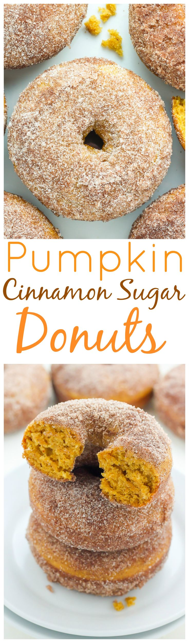 Pumpkin Cinnamon Sugar Donuts - super soft, fluffy, and loaded with pumpkin…