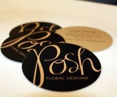 Posh.  Type, circular business cards