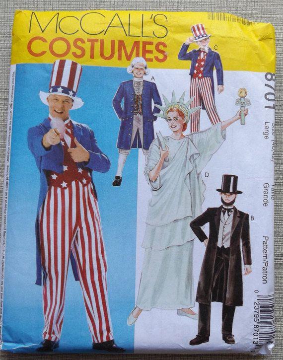 Adulte patriotique semble incl. Statue de la liberté, l'oncle Sam, couture patron 8701 Halloween Costume bruts/FF Lincoln complet McCall