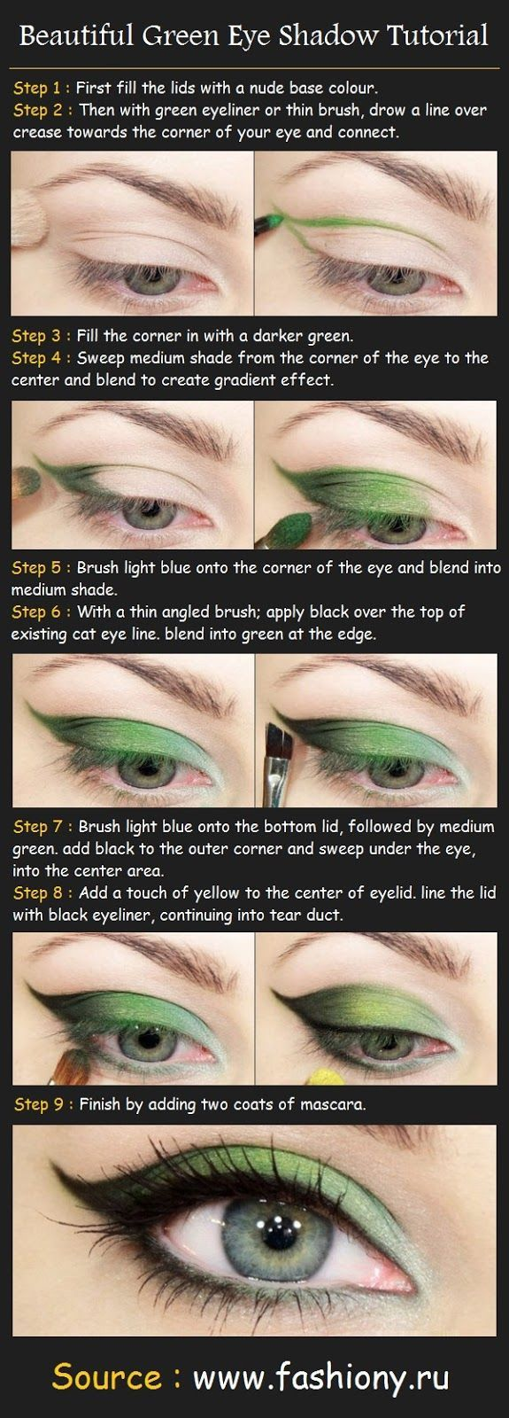 55 best eyes lips face images on pinterest beauty makeup make beautiful green eye shadow tutorial how to do step 1 first fill the lids with a nude base colour step 2 then with green ey baditri Images