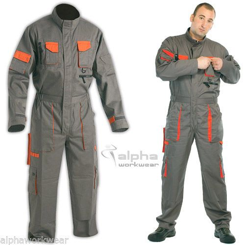 Overall Men Work Wear Uniform Boiler Suit Coveralls Mechanics DES Grey-Orange.