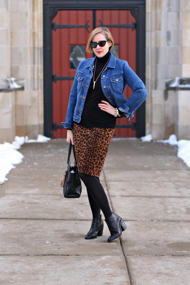 Black Turtleneck - J. Crew Denim Jacket - Leopard Pencil Skirt 4