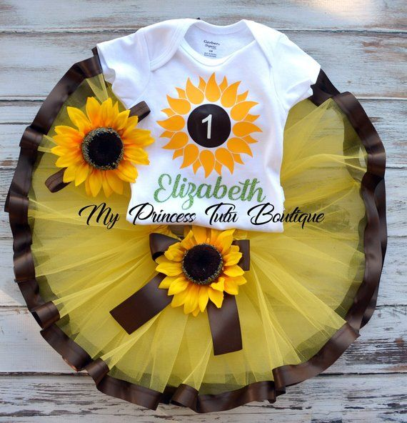 Sunflower First Birthday Girl Baby Headband Baby Tutu Dress Baby Girl Tutu Sunflower First Birthday Outfit Girl Cake Smash Outfit Girl