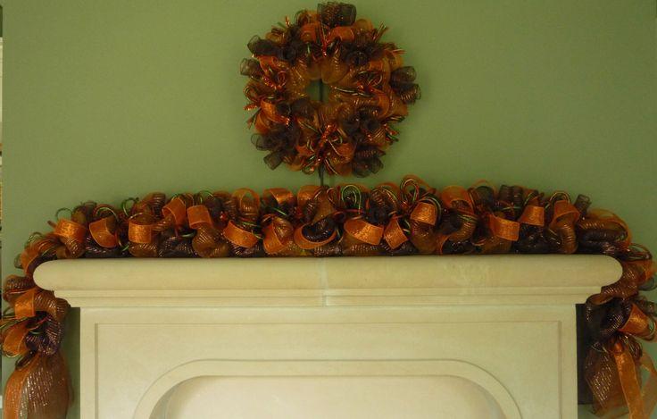 Fall Garland, Garland for Doors, Autumn Garland, Fall Mesh Garland, Burnt Orange Chocolate Copper Item 1137 by wreathsbyrobin on Etsy https://www.etsy.com/listing/194827051/fall-garland-garland-for-doors-autumn