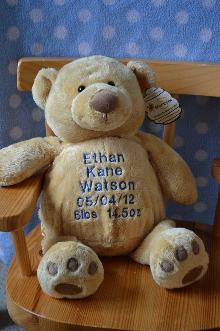 Personalised New Baby Teddy Bear Cuddly Soft Toy Perfect