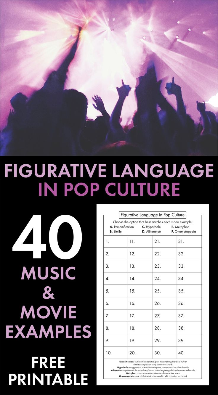 FREE figurative language lesson featuring 40 pop culture examples. Print-and-teach resource for high school English classes. #freelesson #ELA #Englishteacher