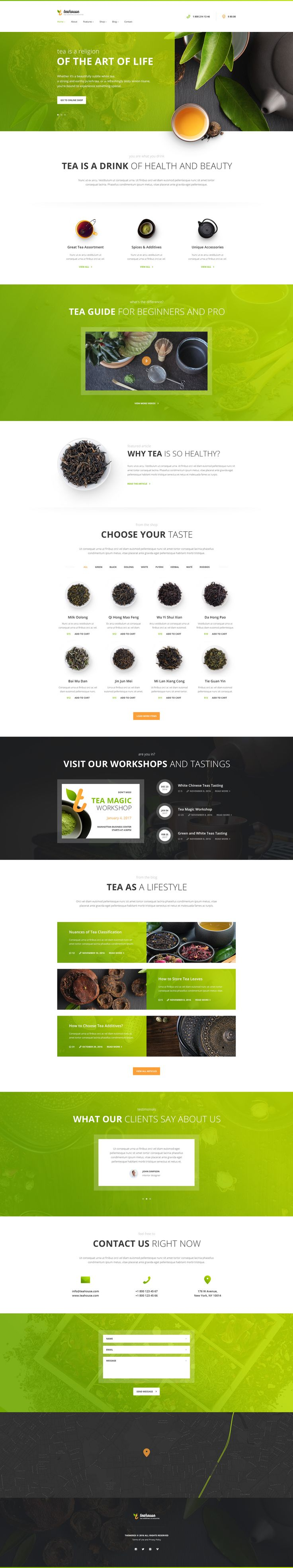 Tea House is a WordPress theme that you totally need if you want to make an impressive online presentation of your tea store, cafe, bar, restaurant, bakery, etc.
