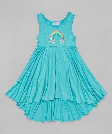 Take a look at this Mint Rainbow Ruffle Hi-Low Dress - Toddler & Girls on zulily today!