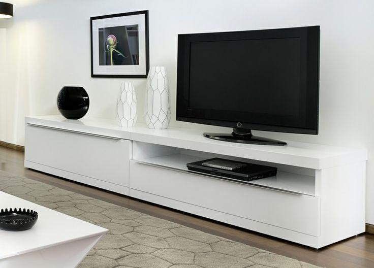 unidad mesa blanca television minimalista