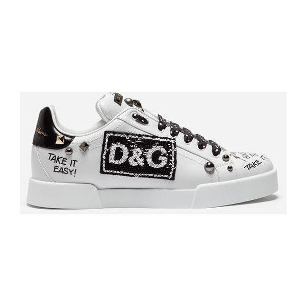 Dolce & Gabbana Portofino Sneakers in Calfskin With Patch and... (7267930 PYG) ❤ liked on Polyvore featuring shoes, sneakers, white, dolce gabbana trainers, dolce gabbana shoes, dolce gabbana sneakers, white sneakers and calf leather shoes