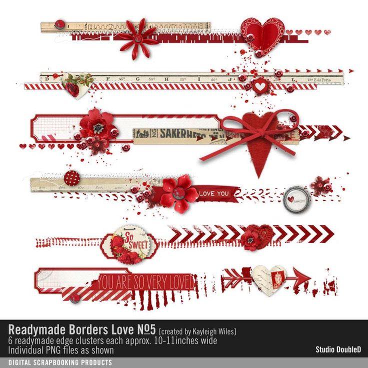 Readymade Borders: Love No. 05 pink love hearts embellishment border strips edges #readymade #designerdigitals