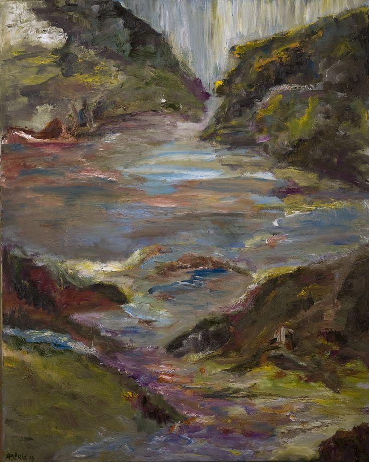 Ongetemde beek. Untamed stream. Oilpaiting on linnen. Size: 100 x 80 cm. FOR SALE: € 425,00