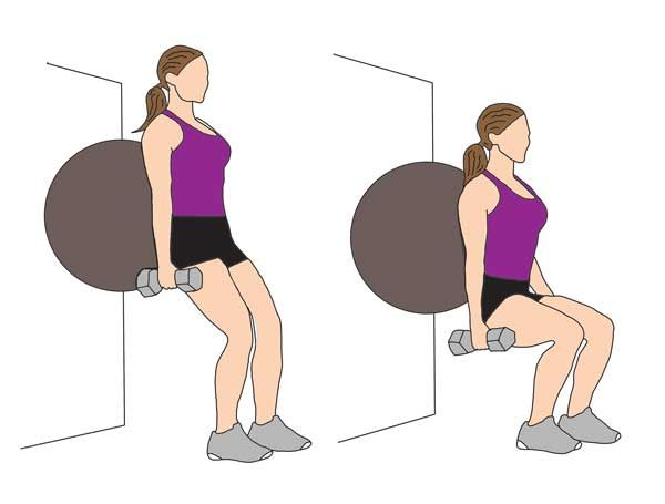 Wall | Squat | With | Ball  Stand with hips shoulder width apart and dumbbells by your side. Bend down slowly into a squat position, using the ball to balance your weight. Return to start position. Complete 3 sets of 12 reps.