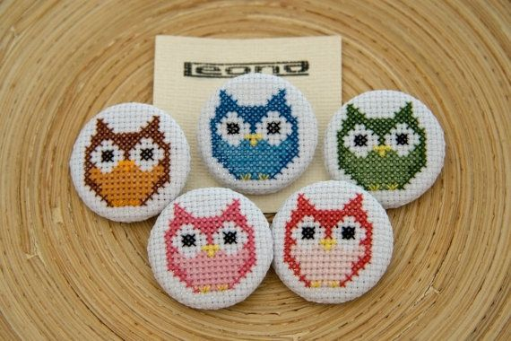 Owl button badges and keyrings in cross by stitchedupbyleona