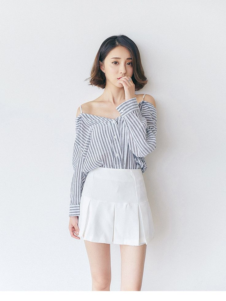 Korean fashion strapless shirt - AddOneClothing - 1