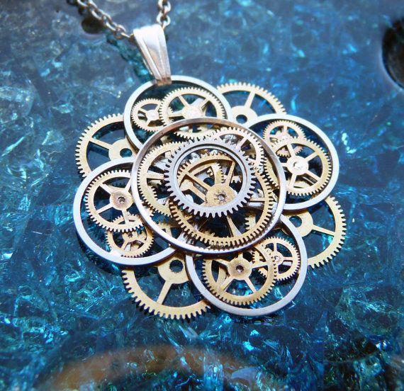 Steampunk Flower Necklace Spring Bloom Elegant by amechanicalmind, $52.00