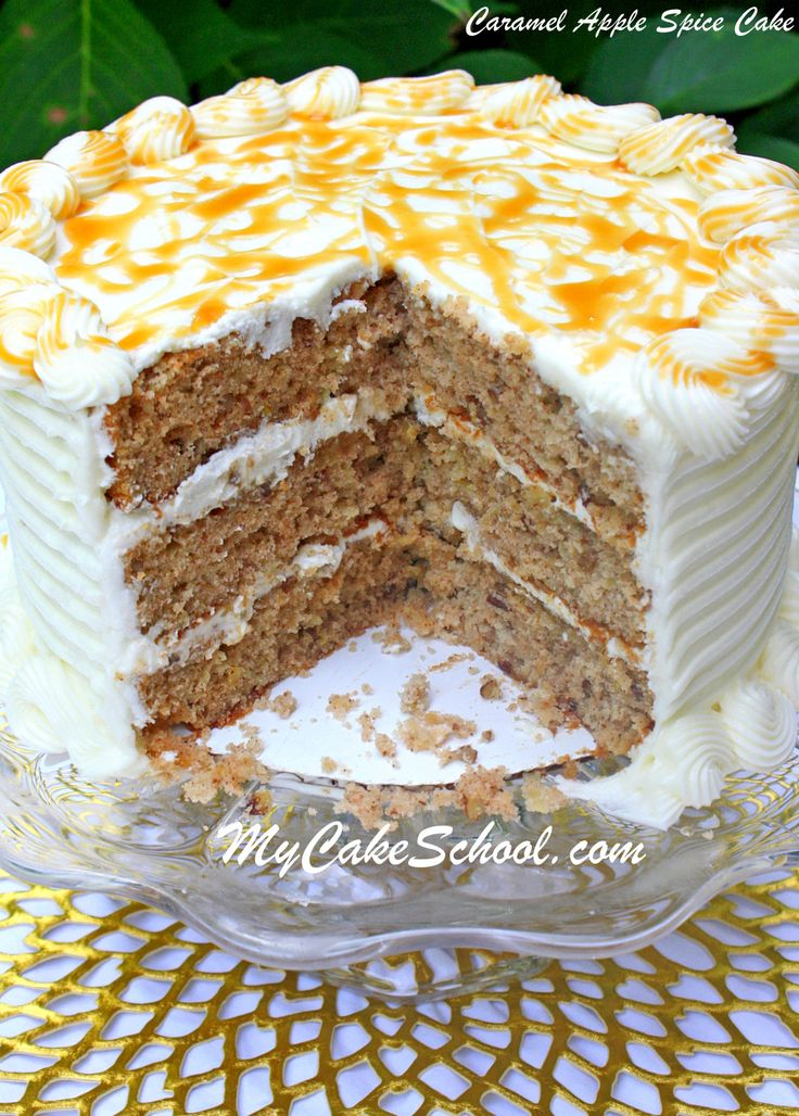 Caramel Apple Spice Cake Recipe by MyCakeSchool.com~ A new fall favorite ;0)