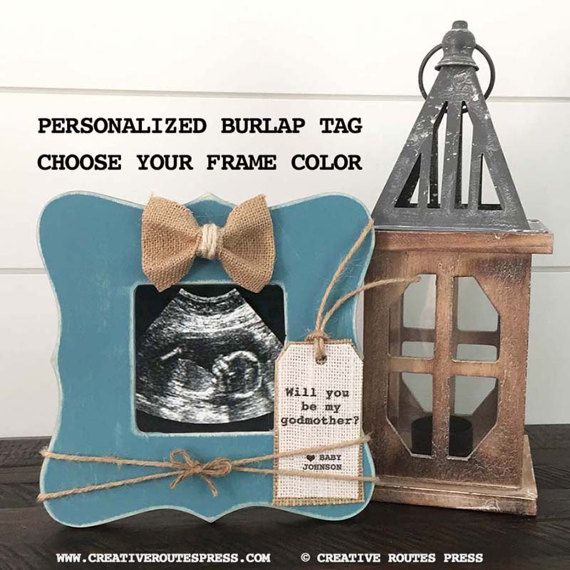 """odmother Frame Gift is the perfect way to ask """"Will you be my Godmother?"""" or any custom wording such as Godparents, Godfather, etc(The text can be personalized on the burlap heart or the tag.)"""