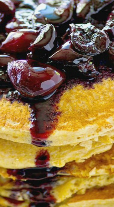 Citrus Cornmeal Pancakes with Fresh Cherry Compote