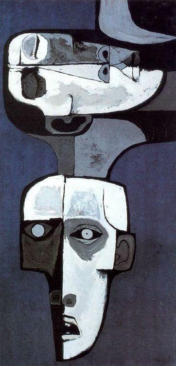 Oswaldo Guayasamin: Mural de la Miseria no 2 (1969) Acrilico y madera. 244 x 122 cm. Mural movible. La Edad de la Ira. Colección Fundación Guayasamín. Quito. Ecuador