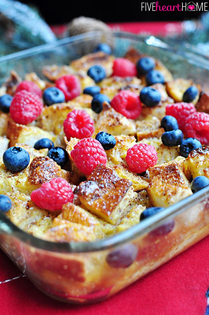 Overnight Eggnog French Toast Casserole ~ perfect, make-ahead breakfast for Christmas morning! | FiveHeartHome.com