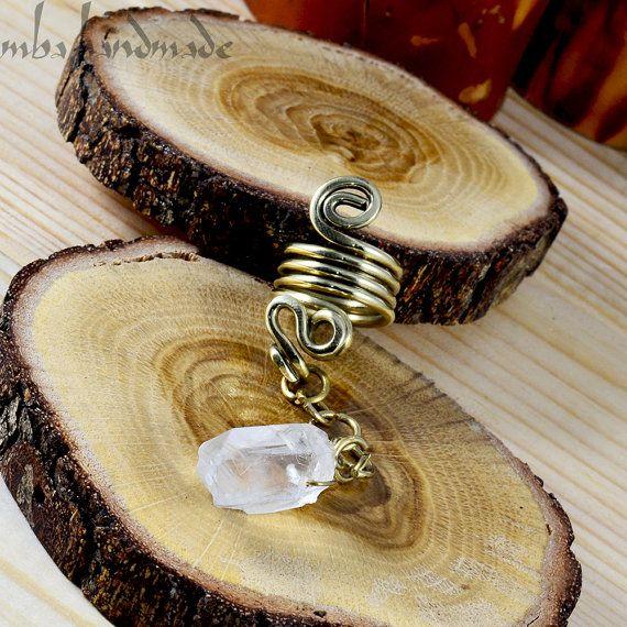 Natuurlijke grondstoffen / ruwe Quartz Crystal punt spiraal Boulder Brass kralen baard sieraden Dreadlock Hair Dread haaraccessoires
