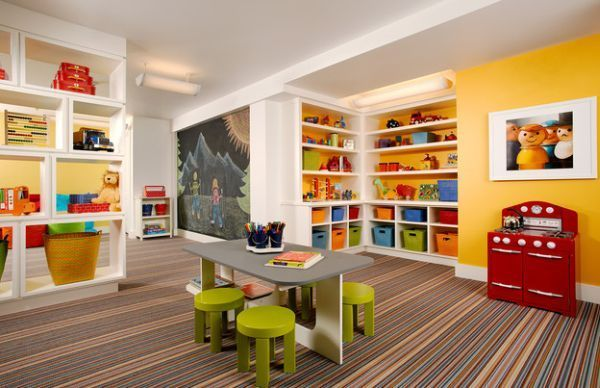 Gorgeous playroom showcases stylish combination of colors 40 Kids Playroom Design Ideas That Usher In Colorful Joy!