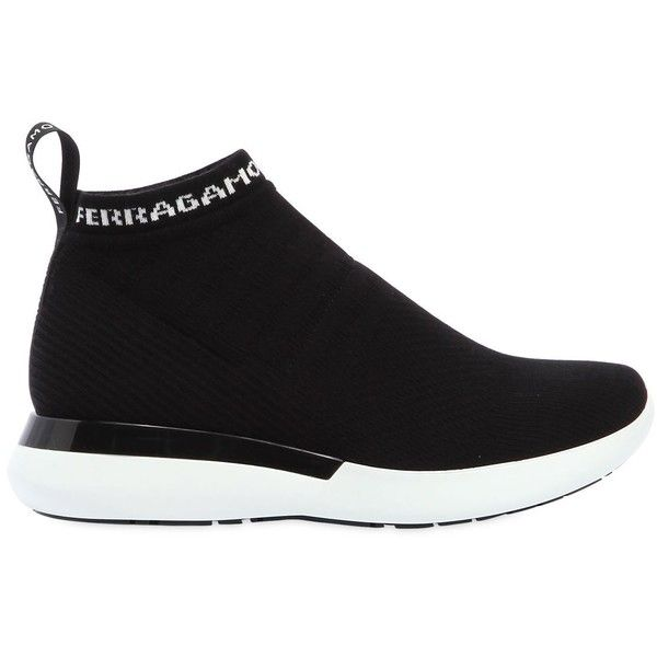 Salvatore Ferragamo Women 30mm Caprera Sock Knit Sneakers ($825) ❤ liked on Polyvore featuring shoes, sneakers, black, black sneakers, salvatore ferragamo, black rubber sole shoes, salvatore ferragamo shoes and black trainers
