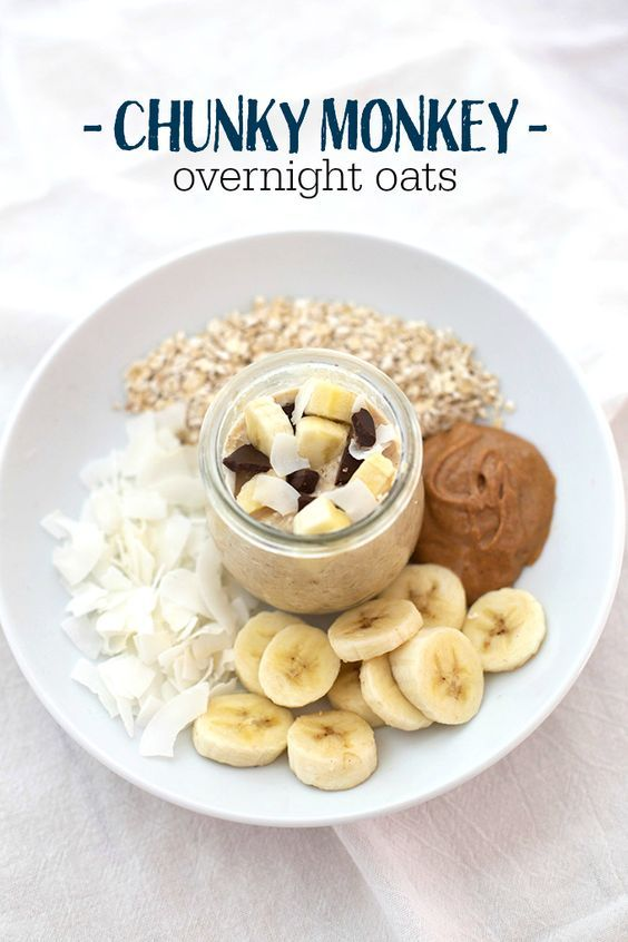 ¾ cup milk (I prefer unsweetened almond or coconut milk) ⅓-1/2 cup uncooked oatmeal (old-fashioned or quick-cooking) ½ small banana 2 Tbsp coconut 1 Tbsp peanut butter (can sub other nut/seed butter) 1 tsp honey chocolate chips
