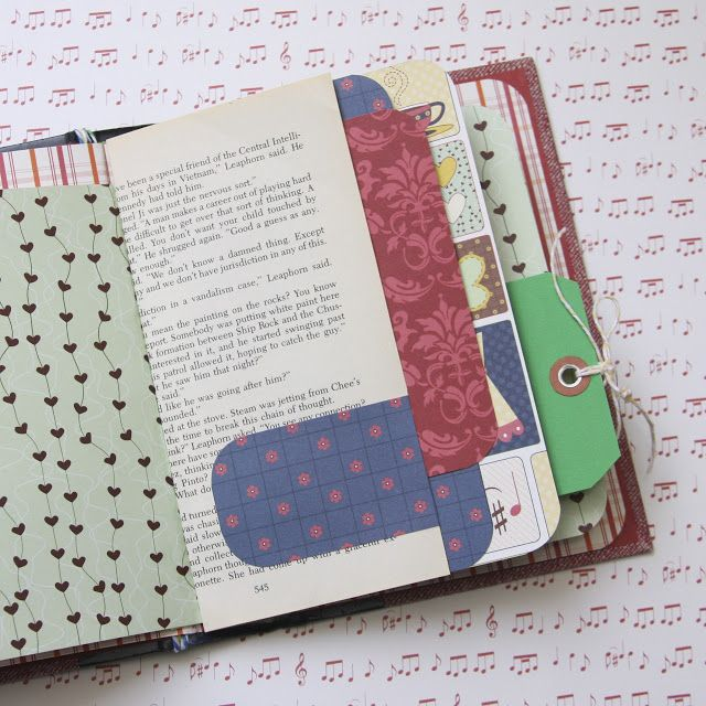 Using an old book cover, add scrapbooking paper, tags and ephemera back to the book to create a one-of-a-kind memory journal | from I Love It All.